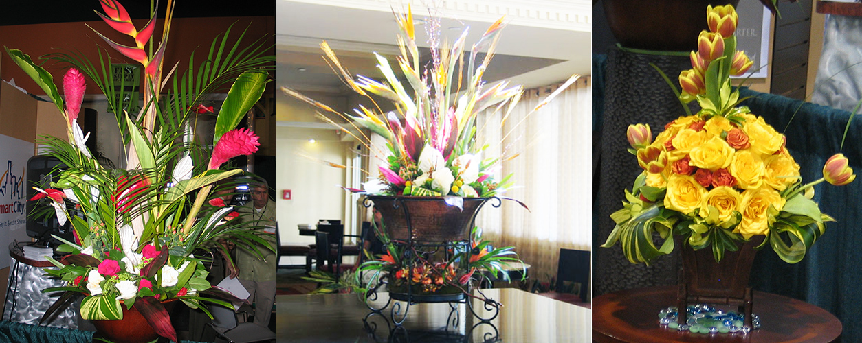 Flower centerpiece for commercial spaces