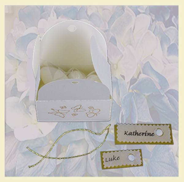 Personalized party favor box decorated with butterflies